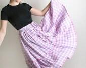 Vintage Country Skirt - Pastel Plaid Metallic Thread Tiered Ruffle Girl