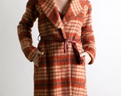 Vintage Wool Coat - 1960s Rust Brown Autumn Plaid Long Coat - Small Autumn