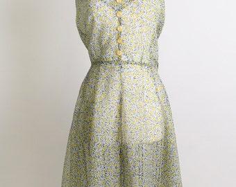 Vintage 1950s Dress - Olive Green Chartreuse Halter Dress - XL  Garden Fashion