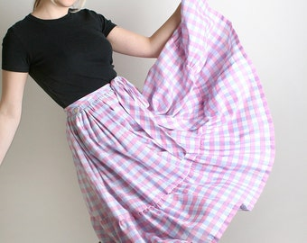 Vintage Country Skirt - Pastel Plaid Metallic Thread Tiered Ruffle Girl
