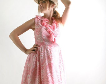 1960s Vintage Dress - Bubblegum Pink and White Zebra Print Sleeveless - Medium Summer Dress