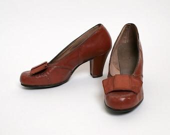 Vintage 1940s Heels - Chocolate Brown Oxford Style - Odette Styles