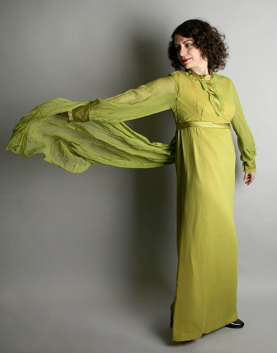 Vintage 1960s Cocktail Maxi Gown Olive Green Flowing - Small