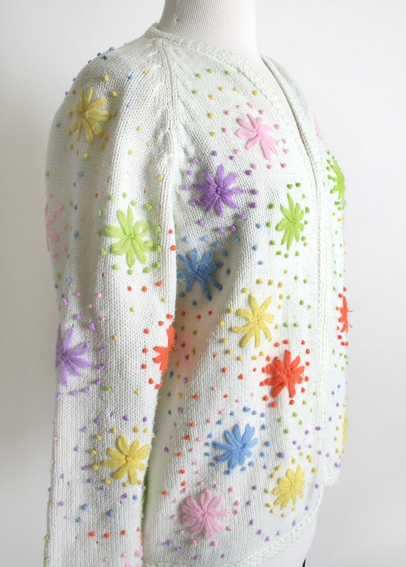 Vintage Rainbow Sweater Knit Cardigan - Colorful Fireworks Small