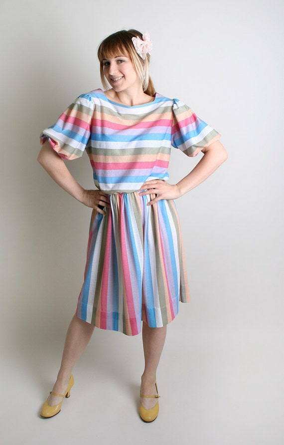 Vintage Striped Dress 1980s Colorful Stripe Pastel Dress - Medium to Large Spring Summer Fashion