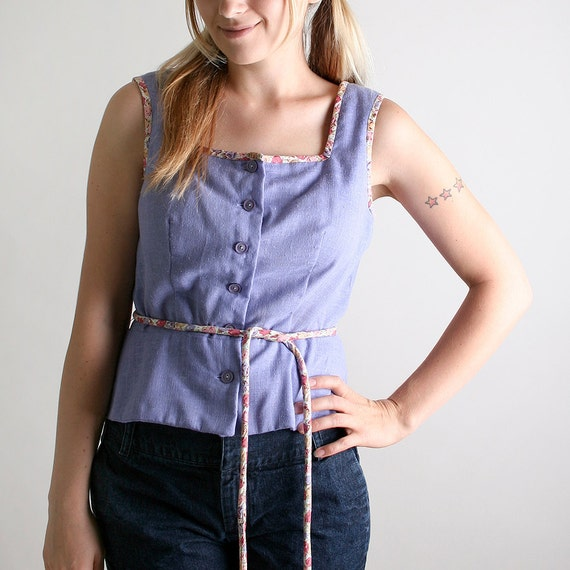 Vintage Country Blouse - Light Lavender Floral Trim Casual Top - Large Bellflower Spring Fashion Prairie