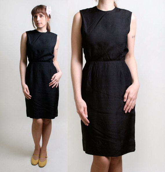 1960s Wiggle Dress - Vintage Little Black Dress - Small Winter Fashion