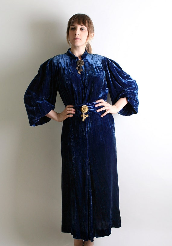 1930s Velvet Dress - Gypsy Lush Dark Navy Royal Blue Maxi Dress - Medium to Large - Fashion Originators Guild Midnight