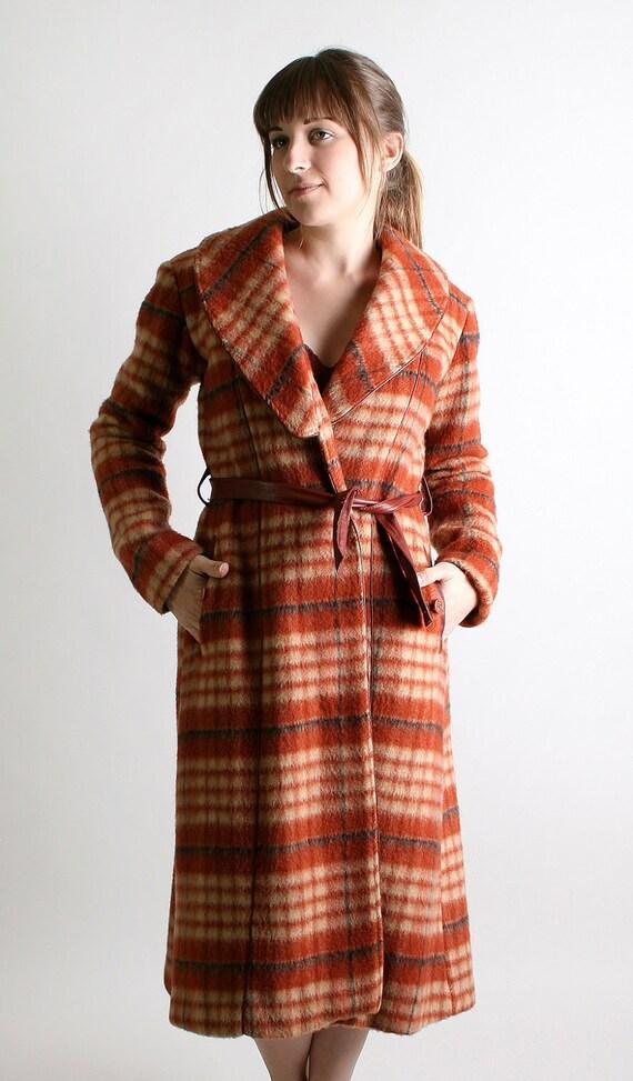 Vintage Wool Coat - 1960s Rust Brown Autumn Plaid Long Coat - Small Autumn