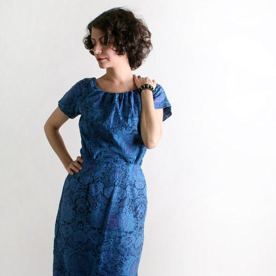 1960s Wiggle Dress - Vintage Watercolor Fitted Dress in Shades of Blue - XS Small