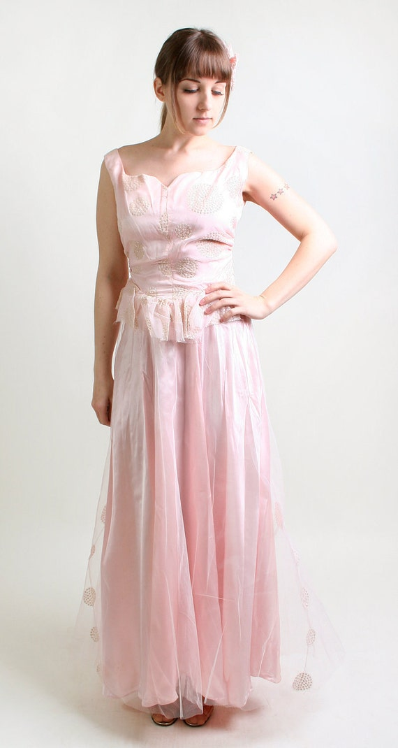 Vintage 1950s Tulle Gown in Cotton Candy Pink and Silver Glitter - Small Sweetheart Prom