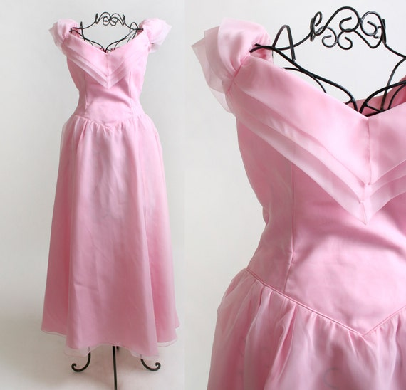 Vintage Prom Dress - Cotton Candy Barbie Pink Pastel Gown - XXS or Teen - Rose Petal