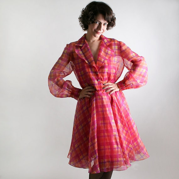 Vintage Plaid Sherbet Dress - 1980s in a 1960s Style - Large XL