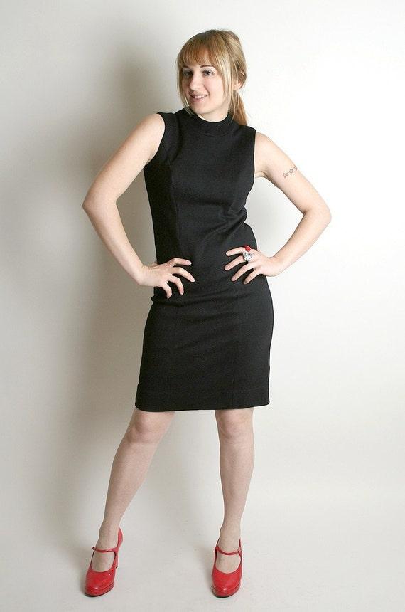 Vintage Little Black Dress - Form Fitted Mini Dress by Nancy Greer