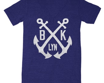 Brooklyn Anchor - V-neck T-shirt Tee Shirt Nautical Boat Crew Navy Blue Navy Yard NYC Retro Vintage Inspired Tri Blend Indigo Tshirt