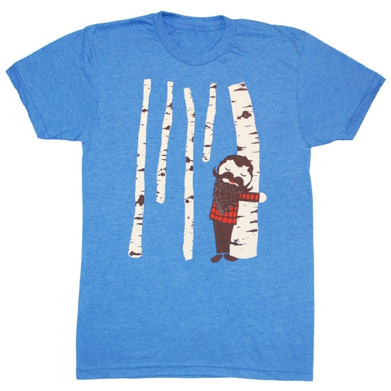 Tree Hugger - Unisex Mens T-shirt Birch Treehugger Wood Forest Cute Nature Plaid Woodland Lumberjack Mustache Beard Tee Shirt Blue Tshirt