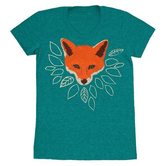 Fox - Womens Girls T-shirt Track Tee Shirt Tri Blend Cute Fantastic Mr Fox Orange Emerald Green Forest Wolf Leaves Tree Evergreen Tshirt