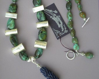 Lavender Glass Bead Turquiose and Silver Nugget Necklace