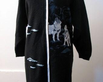 Vintage 1980s Italian Legendary Three Wolves Sweater Dress