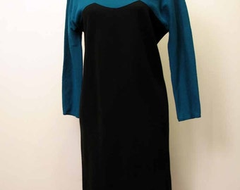 Vintage 1980's Chic Color Block Dress by Geoffrey Beene