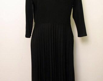 Vintage 1960's Little Black Dress Pleated Skirt 3/4 Sleeves