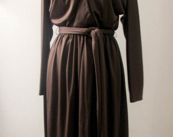 Vintage 1970s Designer Anthony Muto Draped Fawn Brown Jersey Dress