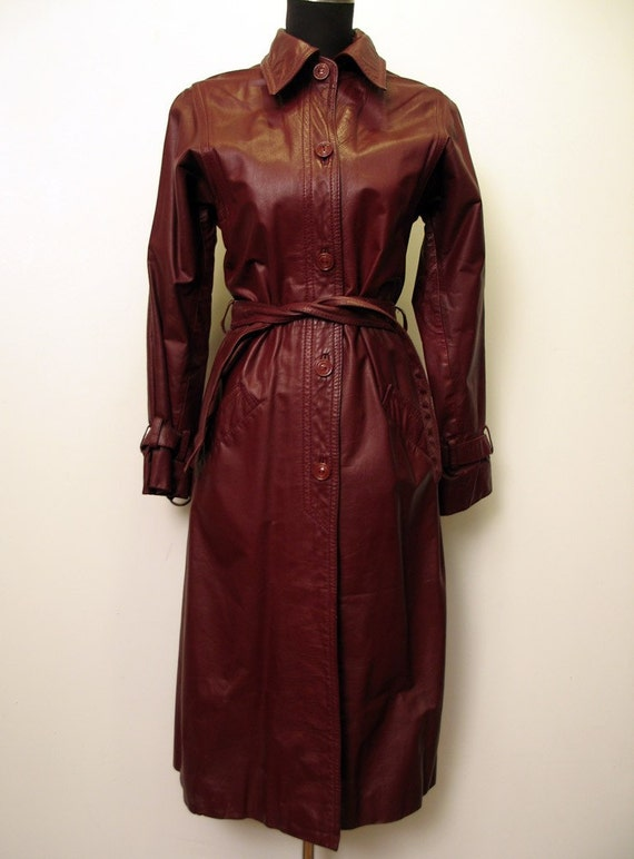 Vintage 1970's Burgundy Leather Coat by Beged Or