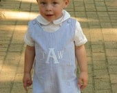 Monogrammed Seersucker Jon Jon Boys Romper Easter Clothes Heirloom Monogrammed Jon Jon  Seersucker Shortall Custom Boys Clothing