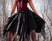 Black Mourning Asymmetrical skirt gothic goth steampunk wedding long formal skirt -- You choose size -- Sisters of the Moon