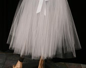 Tie On White wedding tutu tulle skirt Adult Ribbon waist Floor length petticoat bridal bride dance --You Choose Size -- Sisters of the Moon