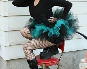 Peek a boo mini tutu skirt black teal Adult goth gothic dance party costume roller derby gogo race run -You Choose Size- Sisters of the Moon