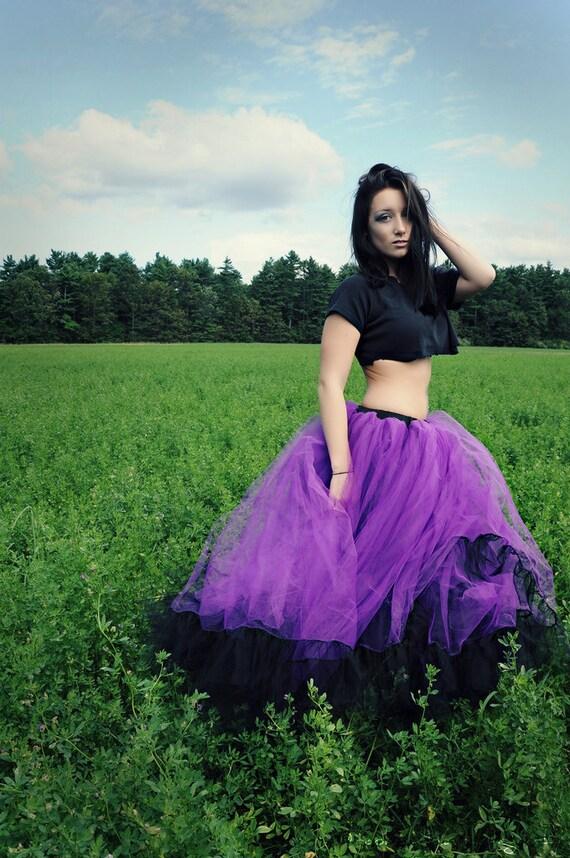 Purple Bridal Petticoat tutu skirt long Formal Ultra huge black ruffle gothic wedding bridesmaid - You Choose Size - Sisters of the Moon