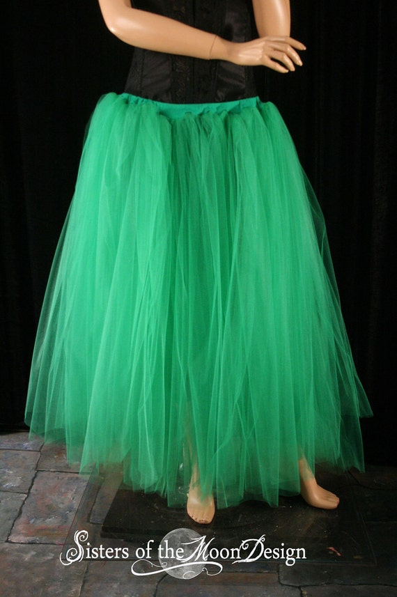 Floor length Adult tutu skirt green extra puffy petticoat two layer dance formal wedding --You Choose Size -- Sisters of the Moon