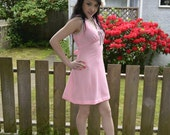 Pink Vintage 60s Mini Dress Silver Bows Empire Sleeveless Mod Summer M