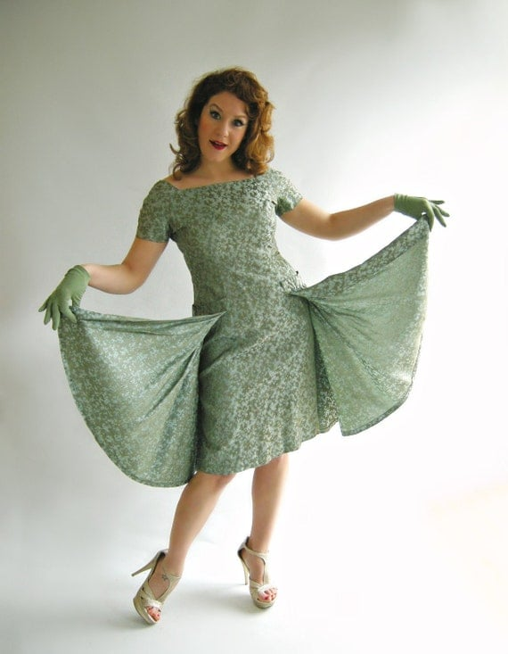 ON HOL D Grey Jade Brocade Vintage 1950s Cocktail Dress with Flyaway Panels Fitted Wiggle Bombshell M