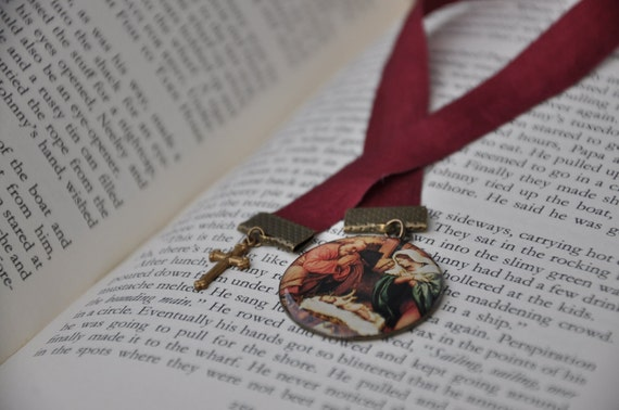 Nativity Manger Christmas Joseph Mary Jesus Pendant and Cross Ribbon Bookmark
