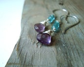Amethyst and Apatite Candy Earrings February Birthstone Sterling Silver Violet Aqua Spring Fashion Gemstone Jewelry Gifts Under 100