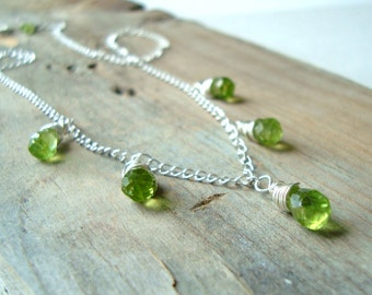 Peridot Necklace Gemstone Jewelry Sterling Silver August Birthstone Bridal Jewelry Wire Wrapped Lime Green Late Summer Gifts Under 100