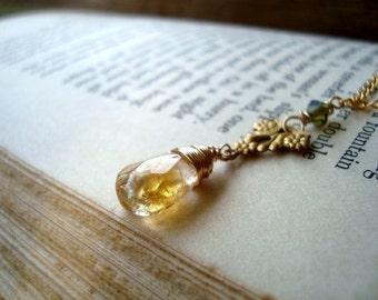 SALE Citrine Necklace - Reverie. Art Nouveau Style Vintage Style Brass Jewelry Wire Wrapped November Birthstone Crystal Jewelry Gemstone