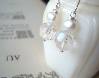 SALE Bridal Earrings White Vintage Crystal and Pearl Bridal Jewelry Shabby Chic Wedding Jewelry Pearl Jewelry June Birthstone Gifts Under 30