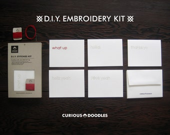 DIY Embroidery Card Kit - 5 Snarky Cards