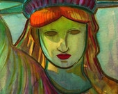 A gift from France - Lady Liberty - Print from original watercolor