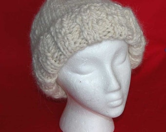 WHITE CLOUDS 100% ALPACA  handspun - hand knit - cuffed hat - natural off white  -- Order in any natural color/s