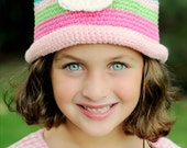 Rolled Brim Flower Hat - Country Pink, Bright Orange, Turquoise, Bright Lime, Bright Pink, White, Bright Yellow