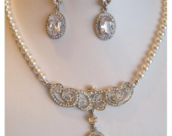 Bridal Jewelry - Bride Necklace - Brides Earrings - Rhinestone and Pearl Bridal Jewely Set Bridal Acessories weddingjewelry