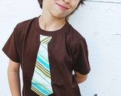fine Jersey T-shirt with a Happy striped NECKTIE applique ........... COMFORTABLE  and TRENDY  kids shirt