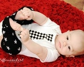 CHECKERED NECKTIE APPLIQUED on  baby bodysuit.........Great  baby shower gift, birthday outfit