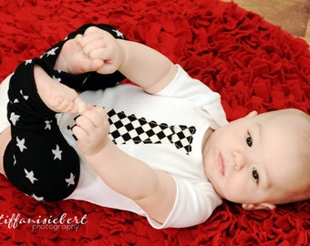 CHECKERED NECKTIE APPLIQUED on a white or black baby bodysuit.........Great  baby shower gift, birthday outfit