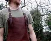 Leather Work Apron with Brass Buckles and Hammer Loop