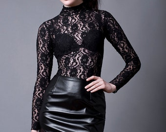 Black Lace Turtleneck Blouse/Top with long Sleeves-Made to Measure